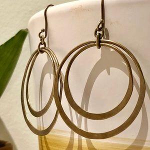 Jewelry - Delicate hammered metal dual hoop earrings